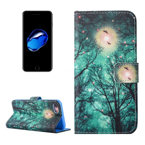 For iPhone 7 Forest Pattern PU Leather Case with Holder, Card Slots & Wallet