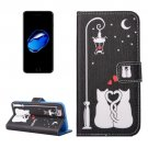 For iPhone 7 Cat lovers Pattern PU Leather Case with Holder, Card Slots & Wallet