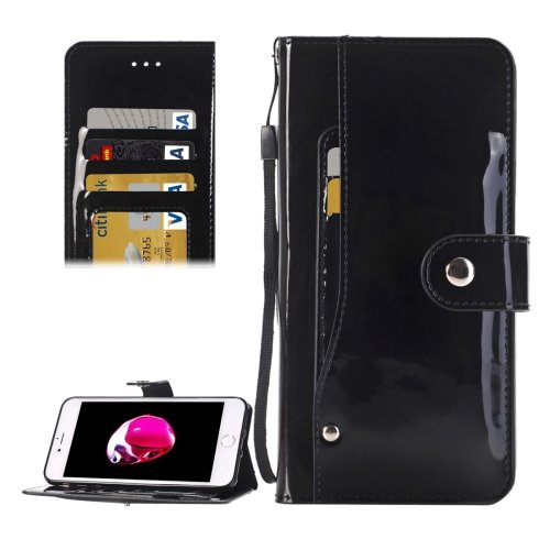For iPhone 7 Black TPU + PU Leather Case with Holder, Card Slots & Wallet