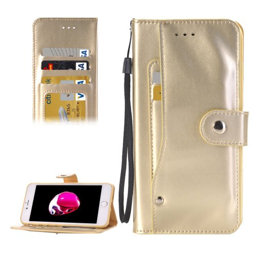 For iPhone 7 Gold TPU + PU Leather Case with Holder, Card Slots & Wallet