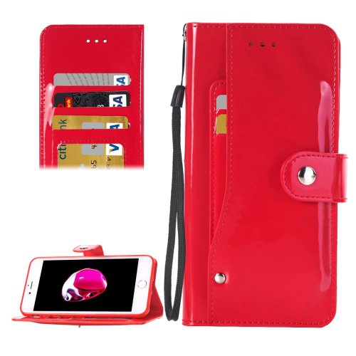 For iPhone 7 Red TPU + PU Leather Case with Holder, Card Slots & Wallet