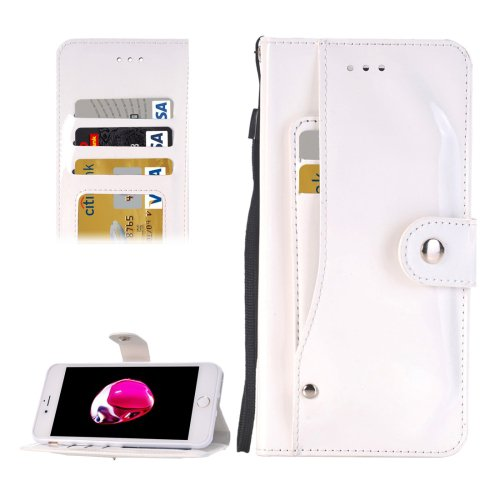 For iPhone 7 White TPU + PU Leather Case with Holder, Card Slots & Wallet