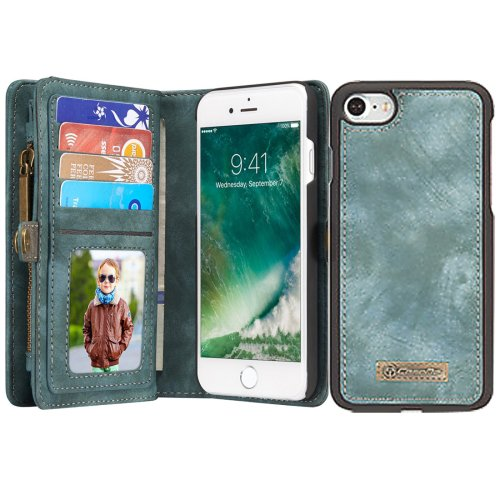 For iPhone 7 Blue Leather Billfold with Detachable Magnetic PC Back Case