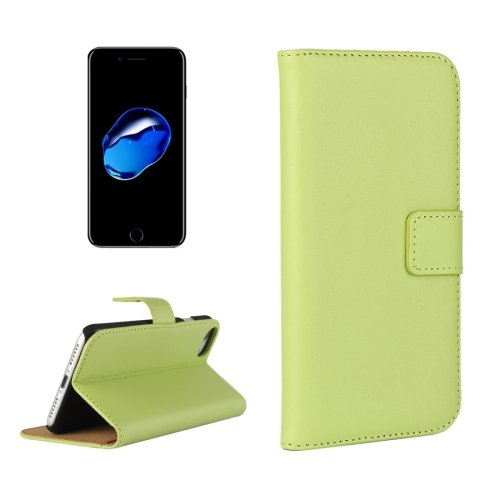 For iPhone 7 Green Geniune Leather Case with Holder & Card Slots & Wallet