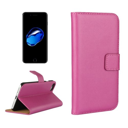 For iPhone 7 Magenta Geniune Leather Case with Holder & Card Slots & Wallet