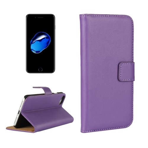 For iPhone 7 Purple Geniune Leather Case with Holder & Card Slots & Wallet