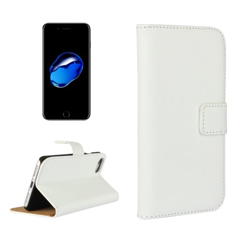 For iPhone 7 White Geniune Leather Case with Holder & Card Slots & Wallet