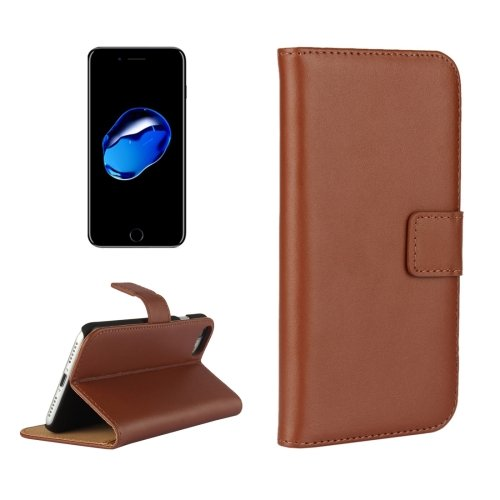 For iPhone 7 Brown Geniune Leather Case with Holder & Card Slots & Wallet