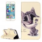 For iPhone 7 Smiling Cat Leather Case with Holder & Card Slots & Wallet