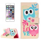 For iPhone 7 Owl Couple Leather Case with Holder & Card Slots & Wallet
