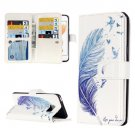For iPhone 7 Feather Leather Case with Holder & 9 Card Slots & Wallet
