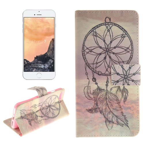 For iPhone 7 Feather Pattern Leather Case with Holder, Card Slots & Wallet