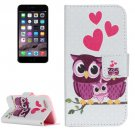 For iPhone 7 Owl Family Leather Case with Holder, Card Slots & Wallet