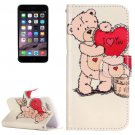 For iPhone 7 Painting Bear Leather Case with Holder, Card Slots & Wallet