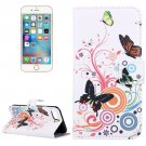 For iPhone 7 Butterfly Pattern Leather Case with Holder, Card Slots & Wallet