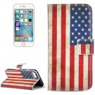 For iPhone 7 US Flag Pattern Leather Case with Holder, Card Slots & Wallet