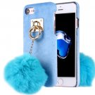 For iPhone 7 Blue Plush Cloth Cover PC Case with Furry Ball Chain Pendant