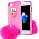 For iPhone 7 Magenta Plush Cloth Cover PC Case with Furry Ball Chain Pendant
