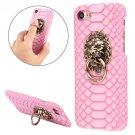 For iPhone 7 Snakeskin Paste Skin Pink PC Case with Lion Head Holder