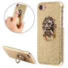 For iPhone 7 Snakeskin Paste Skin Gold PC Case with Lion Head Holder