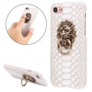For iPhone 7 Snakeskin Paste Skin White PC Case with Lion Head Holder