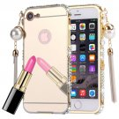 For iPhone 7 Pearl Chain Pendant Diamond Gold Electroplating Mirror PC Case