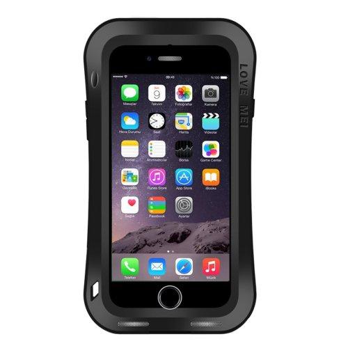 For iPhone 7 Black LOVE MEI Dustproof Shockproof Anti-slip Metal Case