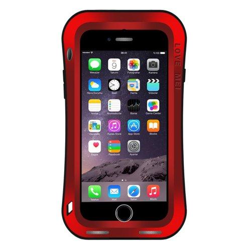 For iPhone 7 Red LOVE MEI Dustproof Shockproof Anti-slip Metal Case