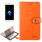 For iPhone 7 Plus Orange Leather Case with Mirror & Holder & Card Slots