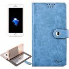 For iPhone 7 Plus Blue Leather Case with Mirror & Holder & Card Slots