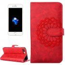For iPhone 7 Plus Red Flower Leather Case with Holder, Card Slots & Wallet
