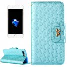 For iPhone 7 Plus Blue Bowknot Leather Case with Holder, Card Slots & Wallet