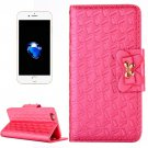 For iPhone 7 Plus Magenta Bowknot Leather Case with Holder, Card Slots & Wallet
