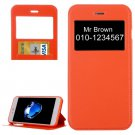 For iPhone 7 Plus Orange Crazy Horse Case with Call ID, Holder & Card Slot