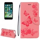 For iPhone 7 Plus Pink Butterflies Leather Case with Holder, Card Slots & Wallet