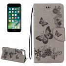 For iPhone 7 Plus Grey Butterflies Leather Case with Holder, Card Slots & Wallet