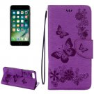 For iPhone 7 Plus Purple Butterflies Leather Case with Holder, Card Slots & Wallet