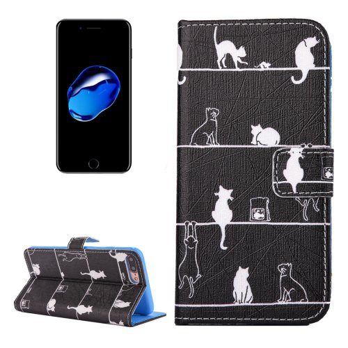 For iPhone 7 Plus Cats PU Leather Case with Holder, CB Slots & Wallet