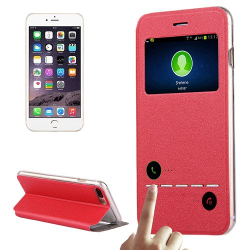 For iPhone 7 Plus Red Flip Leather Case with Call Display ID & Holder