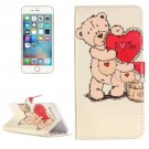 For iPhone 7 Plus Bear Flip Leather Case with Holder & Card Slots & Wallet