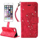 For iPhone 7 Plus Red Girl Leather Case with Holder & Card Slots & Wallet
