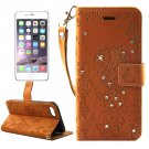 For iPhone 7 Plus Brown Girl Leather Case with Holder & Card Slots & Wallet