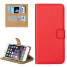 For iPhone 7 Plus Red Geniune Leather Case with Holder, Card Slots & Wallet