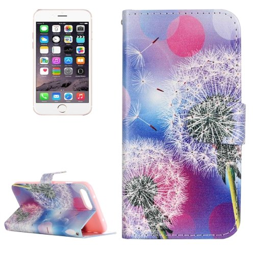 For iPhone 7 Plus Dandelion Leather Case with Holder, Card Slots & Wallet