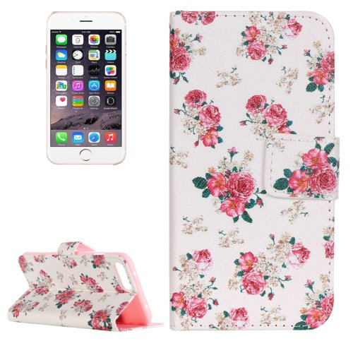 For iPhone 7 Plus Rose Leather Case with Holder, Card Slots & Wallet