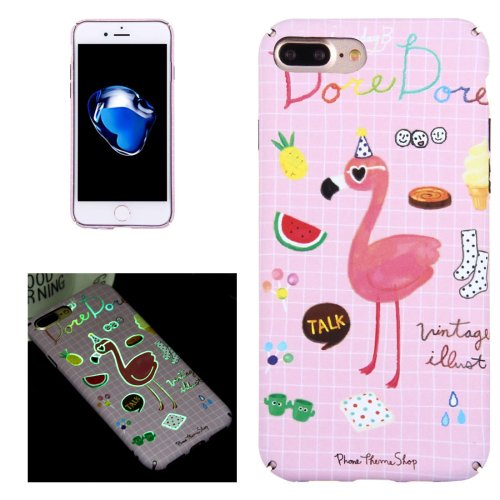 For iPhone 7 Plus Small Ostrich Pattern PC Protective Case with Noctilucent