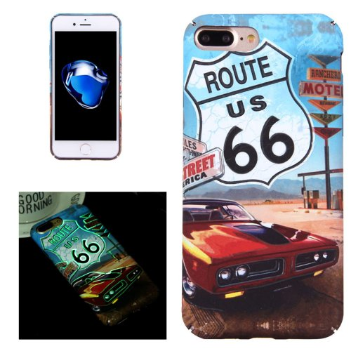 For iPhone 7 Plus Route 66 Pattern PC Protective Case with Noctilucent