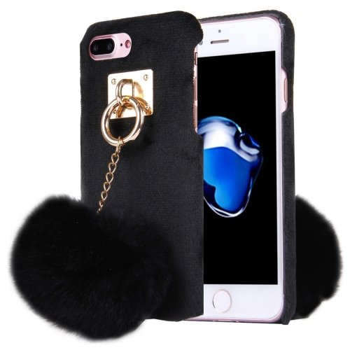 For iPhone 7 Plus Plush Cloth Cover PC Black Case & Furry Ball Chain Pendant