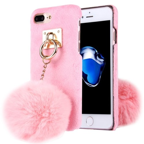 For iPhone 7 Plus Plush Cloth Cover PC Pink Case & Furry Ball Chain Pendant