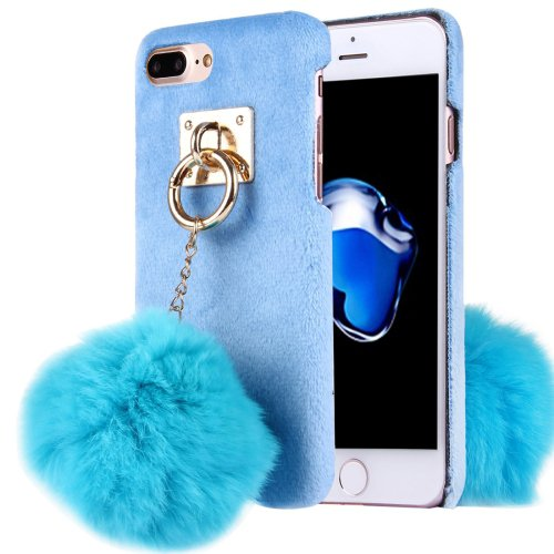 For iPhone 7 Plus Plush Cloth Cover PC Blue Case & Furry Ball Chain Pendant